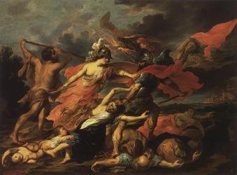 Геркулес и Минерва, изгоняющие Марса. Виктор Вольфут Младший (1612—1652).